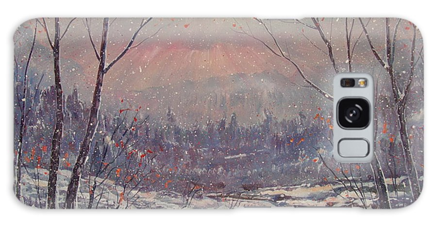 Landscape Galaxy Case featuring the painting Sunset In Winter. by Leonard Holland