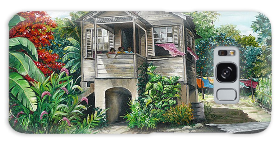 Landscape Painting Caribbean Painting House Painting Tobago Painting Trinidad Painting Tropical Painting Flamboyant Painting Banana Painting Trees Painting Original Painting Of Typical Country House In Trinidad And Tobago Galaxy S8 Case featuring the painting Sweet Island Life by Karin Dawn Kelshall- Best