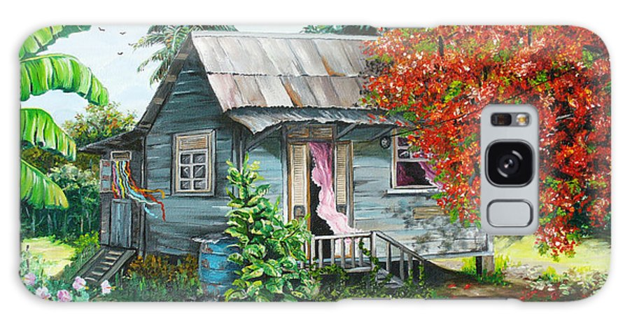 Caribbean Painting Original Painting Trinidad And Tobago ..house Painting Flamboyant Tree Painting Red Blossoms Painting Floral Painting Tree Painting Tropical Painting Galaxy S8 Case featuring the painting Sweet Tobago Life. 2 by Karin Dawn Kelshall- Best