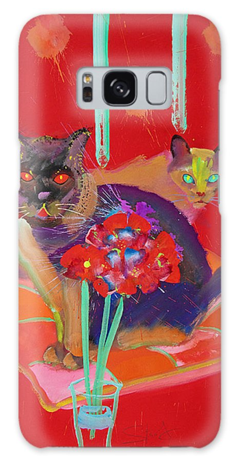 Burmese Cat Galaxy S8 Case featuring the painting Symphony In Red Two by Charles Stuart