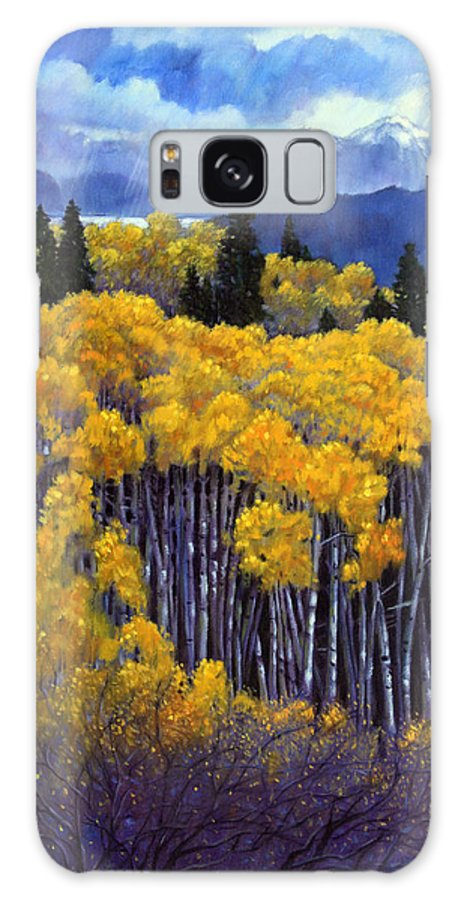 Snow Clouds Over Rocky Mountains Galaxy S8 Case featuring the painting Tall Aspens by John Lautermilch