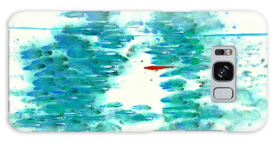 An Adventurous Red Fish Swims Among The Mundane. This Is A Contemporary Chinese Ink And Watercolor On Rice Paper Painting. Galaxy Case featuring the painting The Outlier by Mui-Joo Wee