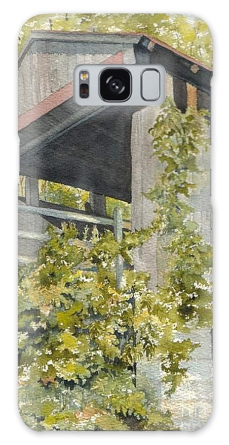 Bridge Galaxy S8 Case featuring the painting The Covered Bridge - Okeana. Ohio by Jackie Mueller-Jones