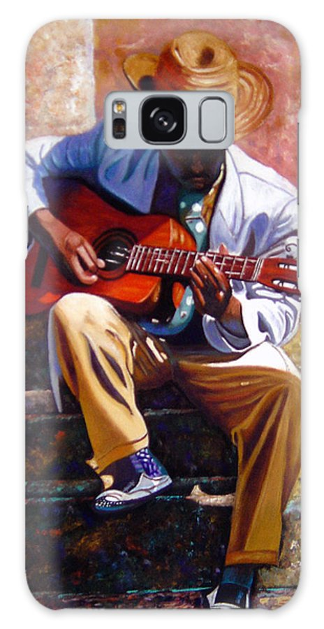 Cuban Art Galaxy S8 Case featuring the painting The Guitar Player by Jose Manuel Abraham