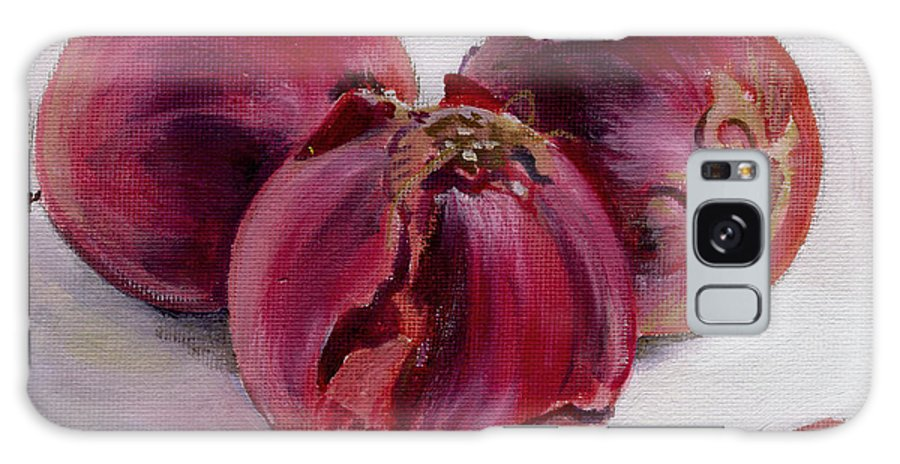 Still-life Galaxy Case featuring the painting Three More Onions by Sarah Lynch
