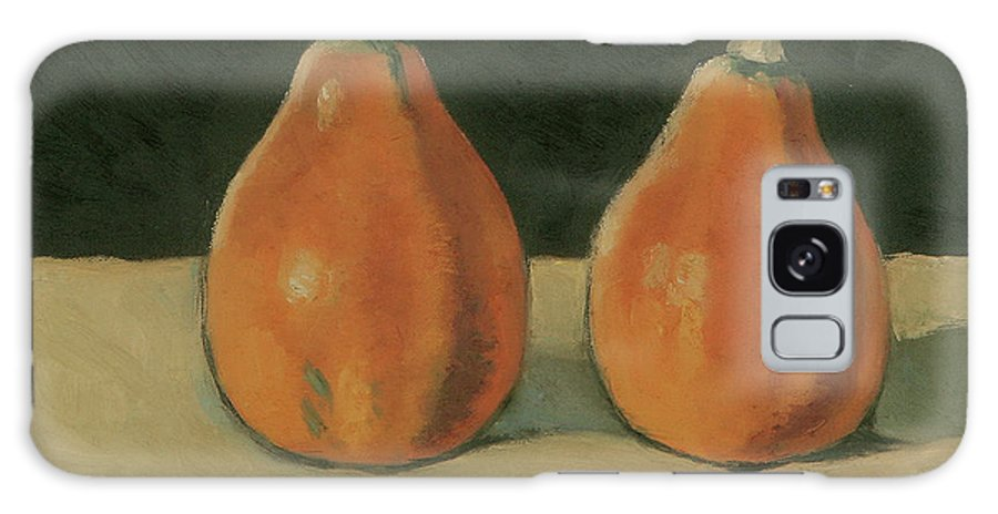 Still-life Pumpkins Orange Galaxy S8 Case featuring the painting Two Orange Pumpkins by Raimonda Jatkeviciute-Kasparaviciene