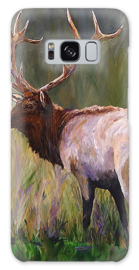 Elk Wildlife Art Galaxy S8 Case featuring the painting Whapiti - ELK Now Avaliable by Mary Jo Zorad