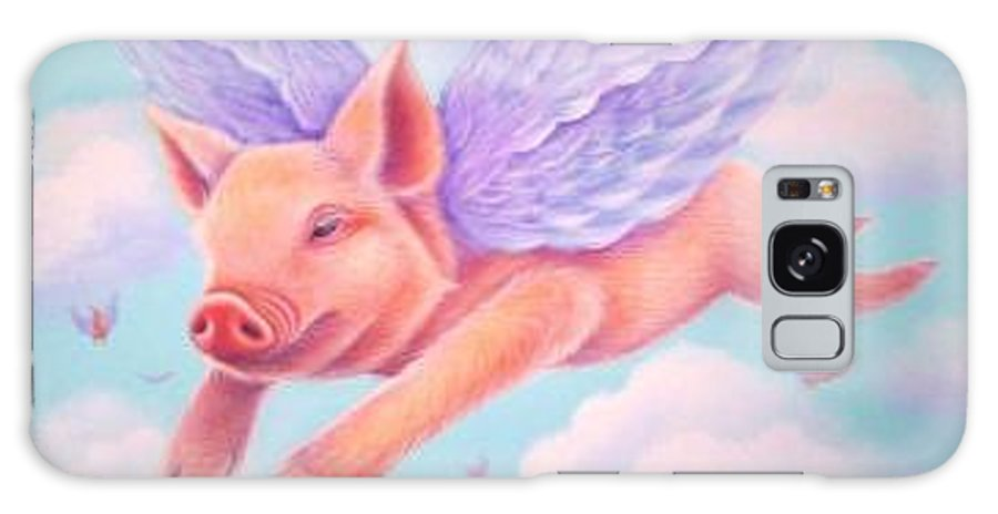 Whimsy Galaxy S8 Case featuring the painting When Pigs Fly by L Risor