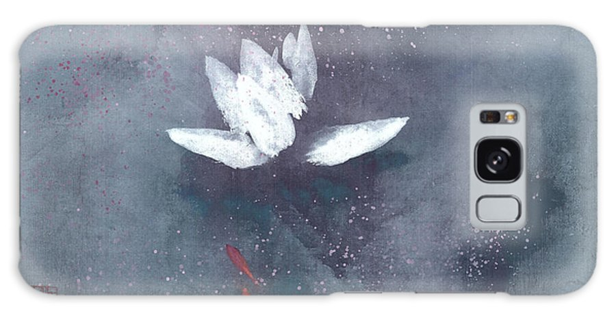 A Brilliant Lotus In A Pond With Delightful Fish. It's A Simple Chinese Brush Painting On Rice Paper. Galaxy Case featuring the painting White Lotus II by Mui-Joo Wee