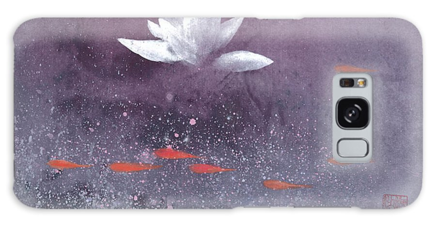 A Brilliant Lotus In A Pond With Delightful Fish. It's A Simple Chinese Brush Painting On Rice Paper. Galaxy Case featuring the painting White Lotus III by Mui-Joo Wee