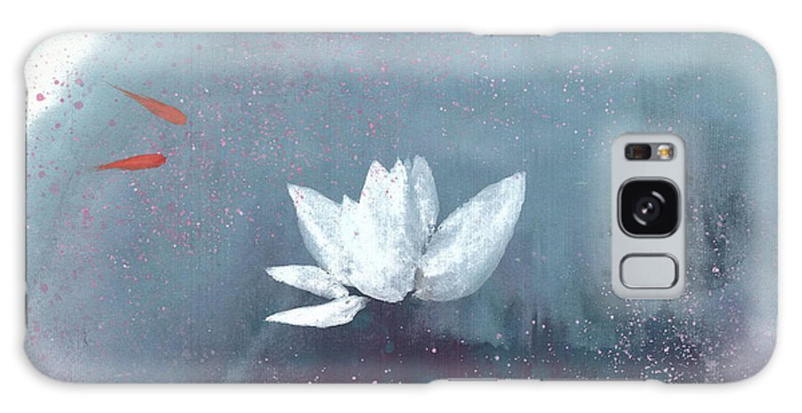 A Brilliant Lotus In A Pond With Delightful Fish. It's A Simple Chinese Brush Painting On Rice Paper. Galaxy Case featuring the painting White Lotus IV by Mui-Joo Wee
