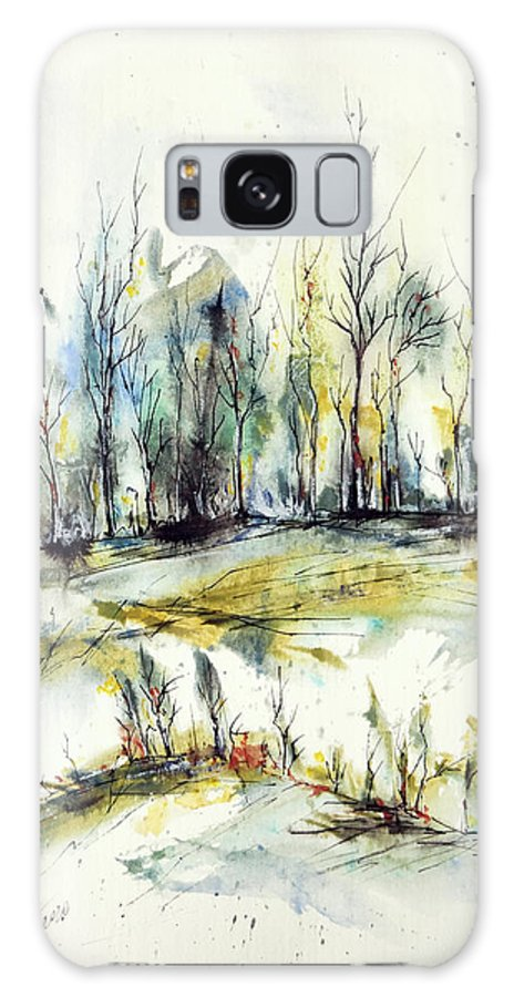 Watercolor Galaxy Case featuring the painting Winter trees by Aniko Hencz