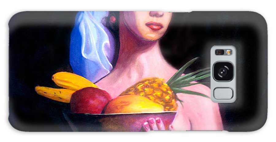 Women Galaxy Case featuring the painting Women With Fruits by Jose Manuel Abraham