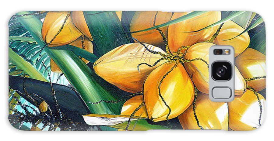 Coconut Painting Botanical Painting  Tropical Painting Caribbean Painting Original Painting Of Yellow Coconuts On The Palm Tree Galaxy S8 Case featuring the painting Yellow Coconuts by Karin Dawn Kelshall- Best