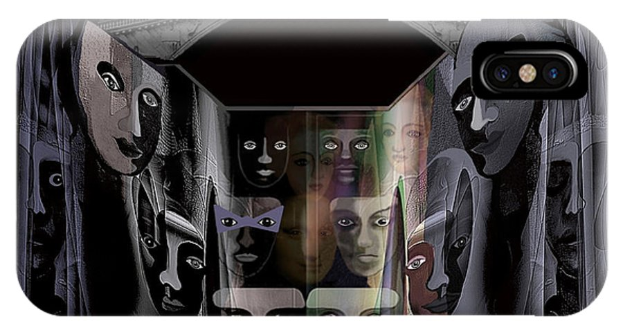 Faces IPhone X Case featuring the painting  069 - Rainy Night In Old Venice ... by Irmgard Schoendorf Welch