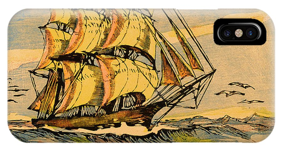 Oriental IPhone X Case featuring the drawing A China Clipper Ship by Mary Evans Picture Library