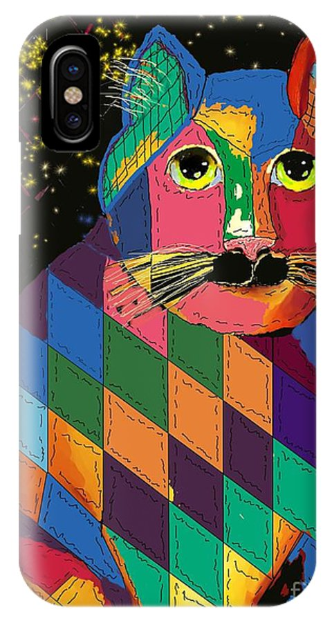 Cat Digital Art IPhone X Case featuring the digital art Quilted Cat by Dessie Durham