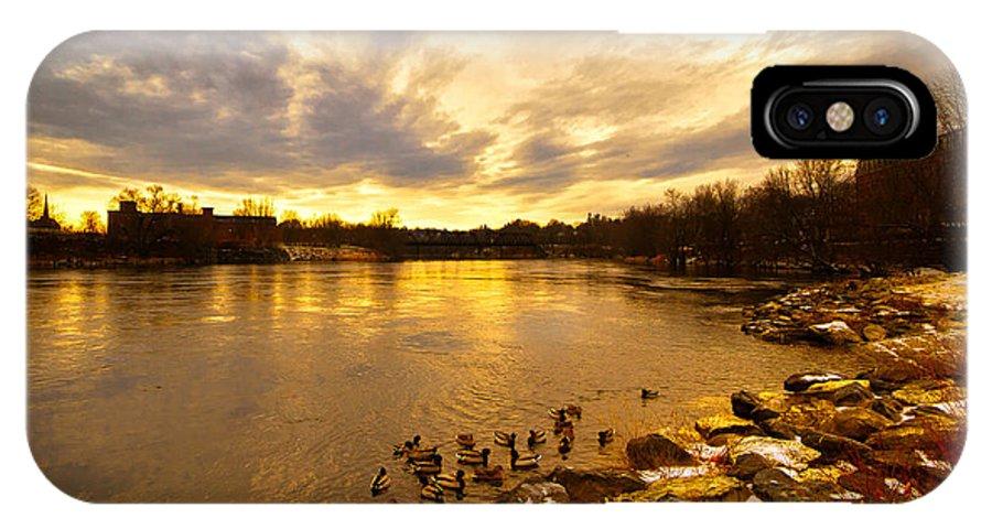 Androscoggin River IPhone X / XS Case featuring the photograph Androscoggin River Between Lewiston And Auburn by Bob Orsillo
