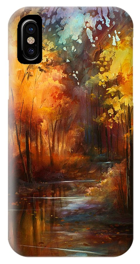 Landscape IPhone X Case featuring the painting ' Autumns Place ' by Michael Lang