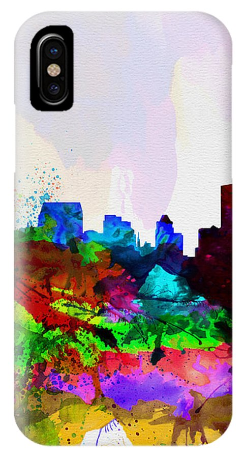 Baltimore IPhone X Case featuring the painting Baltimore Watercolor Skyline by Naxart Studio