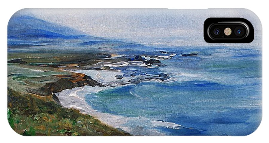 California Coast IPhone X Case featuring the painting Big Sur Coastline by Eric Schiabor