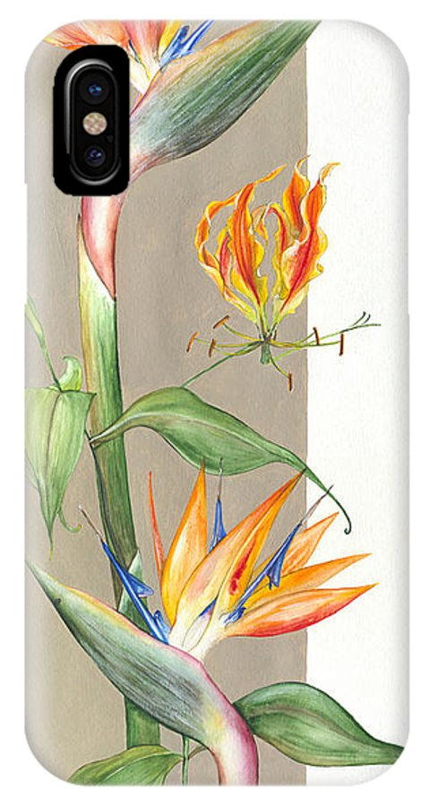Strelitzia IPhone X Case featuring the painting Bird Of Paradise 09 Elena Yakubovich by Elena Yakubovich