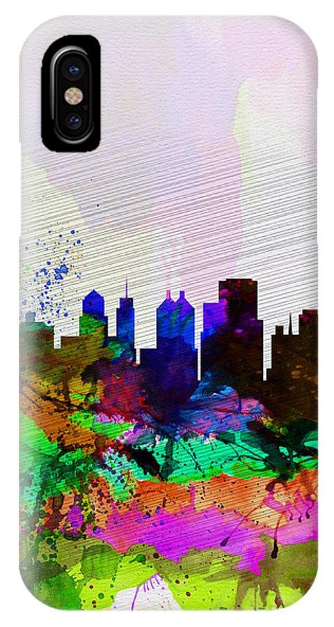 Buffalo IPhone X Case featuring the painting Buffalo Watercolor Skyline by Naxart Studio
