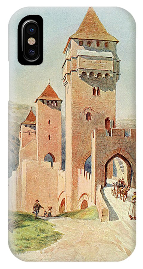 France IPhone X Case featuring the drawing Cahors Pont Valentre    Date 1904 by Mary Evans Picture Library
