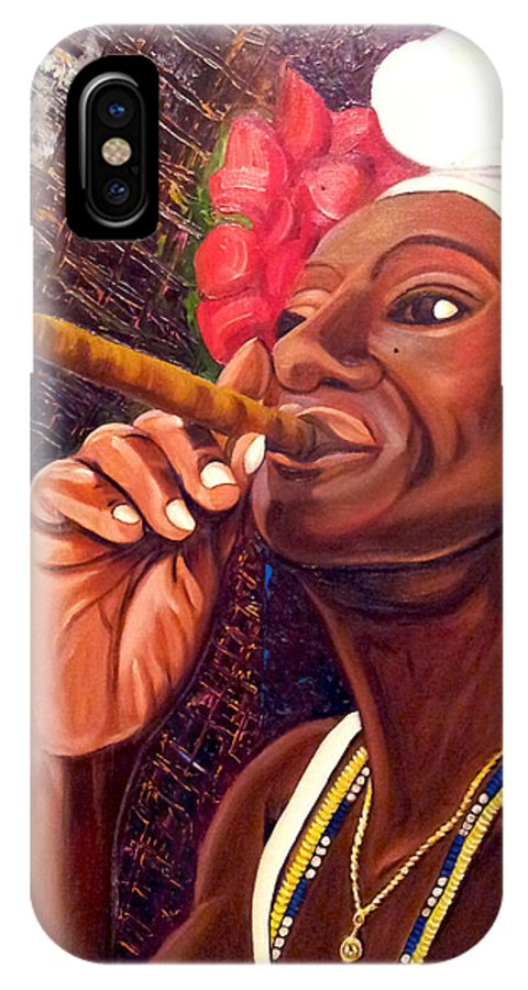 Cuban Art IPhone X Case featuring the painting  Cigar Lady by Jose Manuel Abraham