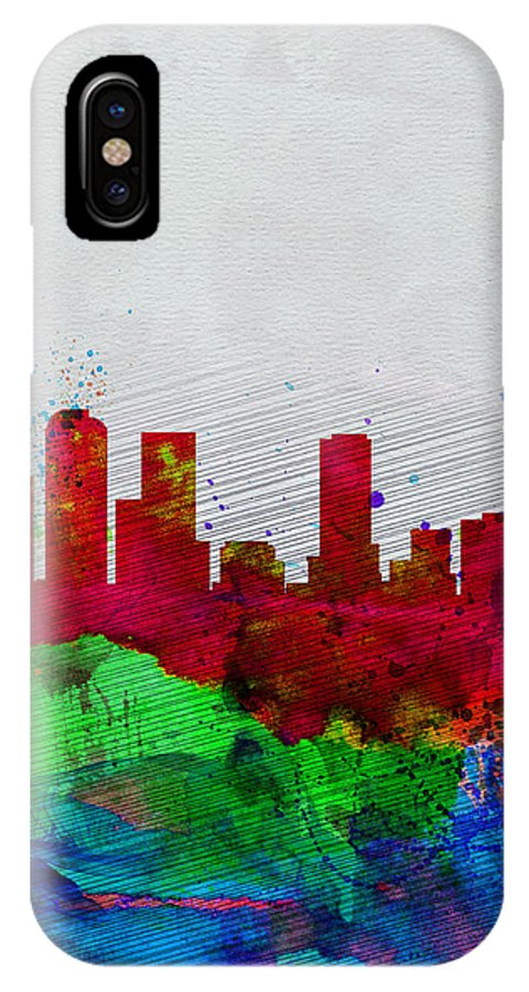 Denver IPhone X / XS Case featuring the painting Denver Watercolor Skyline by Naxart Studio