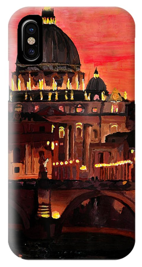 Rome IPhone X Case featuring the painting Eternal City Rome St Peter Vatican At Dusk by M Bleichner
