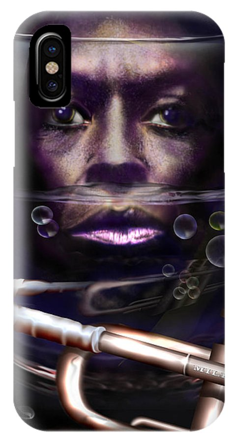 Miles Davis IPhone X Case featuring the painting Fish Bowl Of Miles by Reggie Duffie