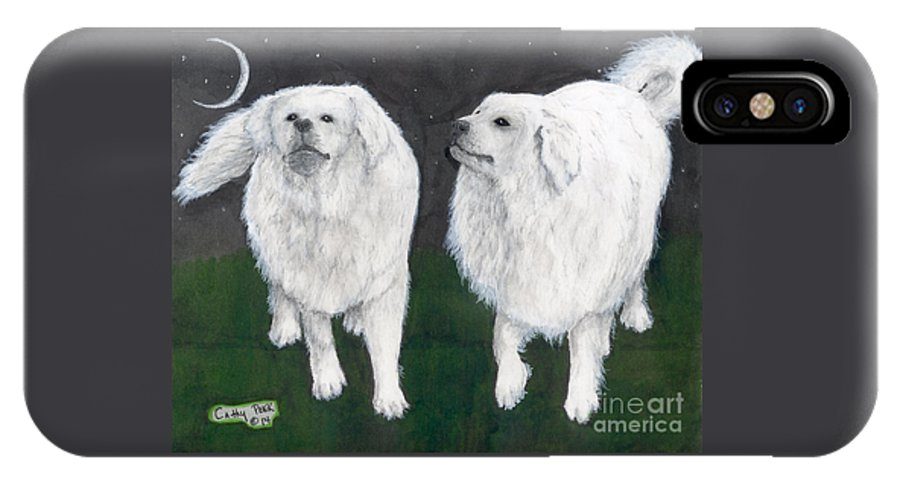 Great IPhone X Case featuring the painting Great Pyrenees Dogs Night Sky Cathy Peek Animal Art by Cathy Peek