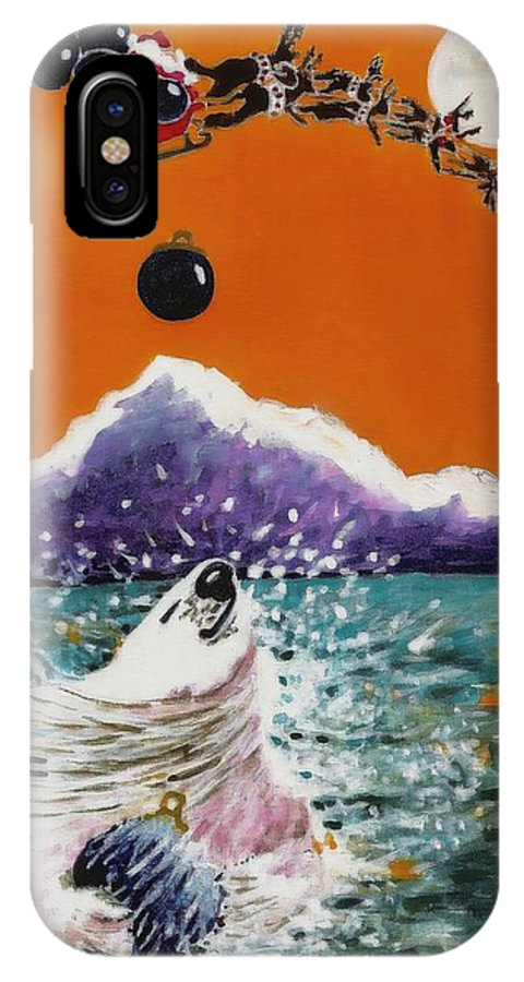Greeting Card IPhone X Case featuring the painting Holiday Polar Bear by Joy Bradley