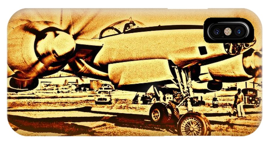 3202 IPhone X Case featuring the photograph  Howard Hughes And The Hughes Xf-11 by Hank Clark
