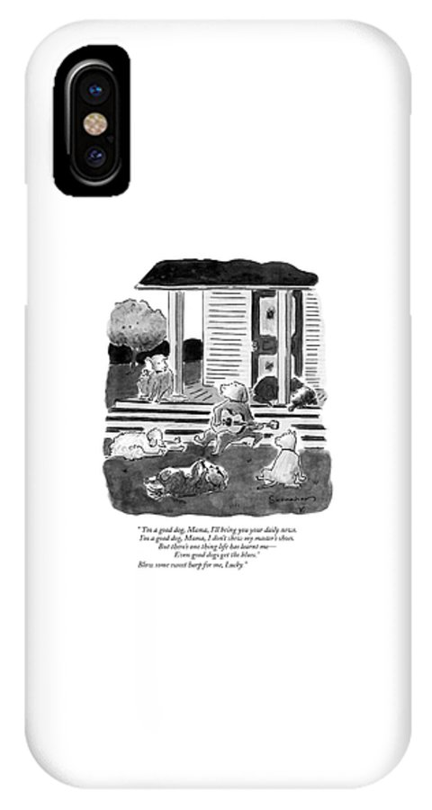 Dogs IPhone X Case featuring the drawing 'i'm A Good Dog by Danny Shanahan