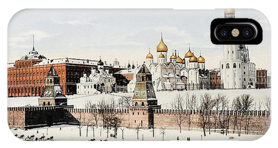 Moscow IPhone X Case featuring the photograph Kremlin In Winter    Date 1908? by Mary Evans Picture Library