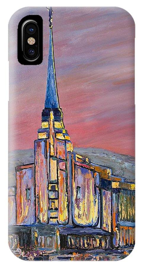L.d.s. Mormon Temple Rexburg IPhone X Case featuring the painting Latter Day Saints Rexburg Mormon Temple Rexburg Idaho by Nancy LaMay