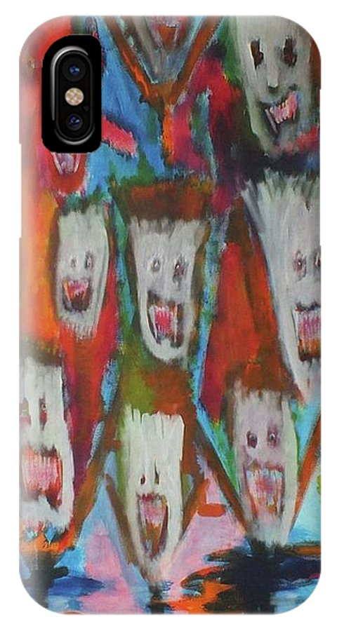 Ghosts IPhone X Case featuring the painting Laughter by Randall Ciotti