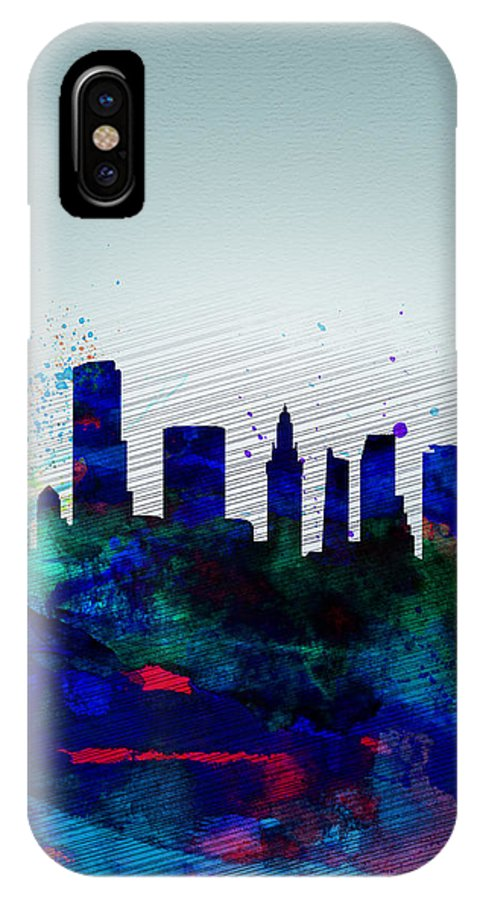 Miami IPhone X Case featuring the painting Miami Watercolor Skyline by Naxart Studio