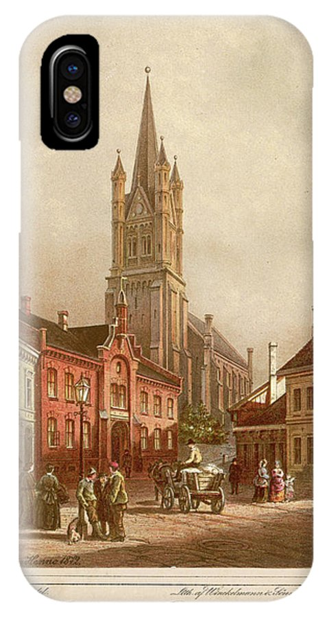 Oslo IPhone X Case featuring the drawing Oslo (formerly Christiania) Street by Mary Evans Picture Library