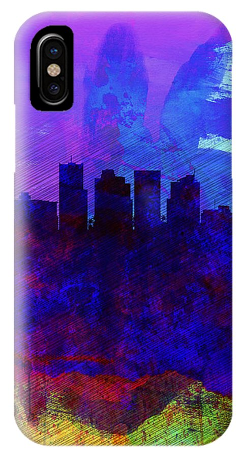 Phoenix IPhone X / XS Case featuring the painting Phoenix Watercolor Skyline 1 by Naxart Studio