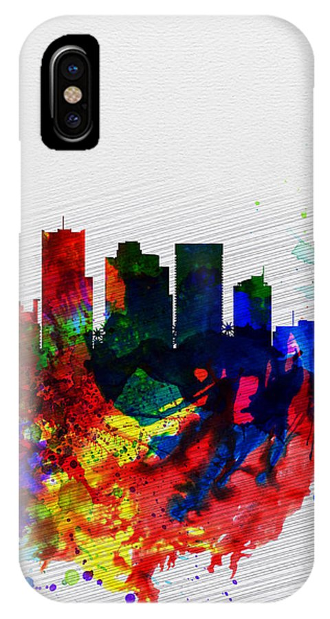 Phoenix IPhone X Case featuring the painting Phoenix Watercolor Skyline 2 by Naxart Studio