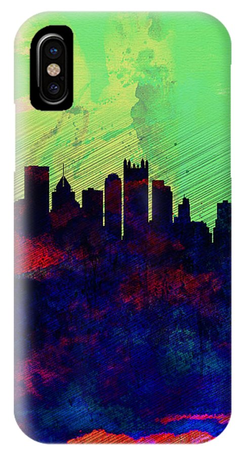 Pittsburgh IPhone X / XS Case featuring the painting Pittsburgh Watercolor Skyline by Naxart Studio