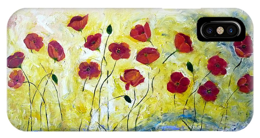 Poppy IPhone X Case featuring the painting Poppy 2 by To-Tam Gerwe
