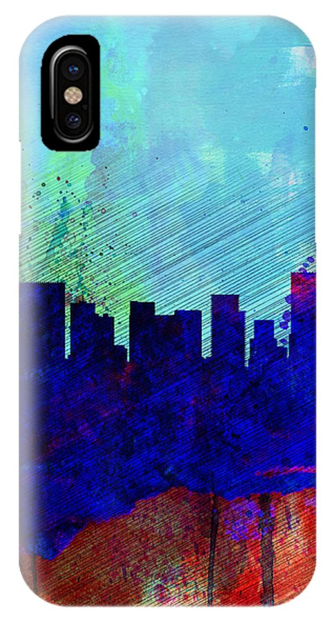 Portland IPhone X / XS Case featuring the painting Portland Watercolor Skyline by Naxart Studio