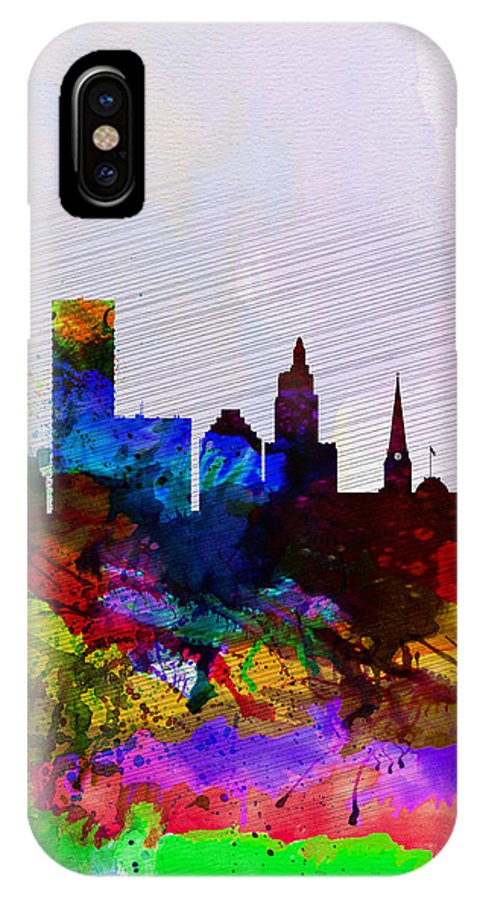 Providence IPhone X Case featuring the painting Providence Watercolor Skyline by Naxart Studio