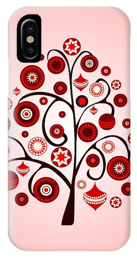 Interior IPhone X Case featuring the digital art Red Ornaments by Anastasiya Malakhova