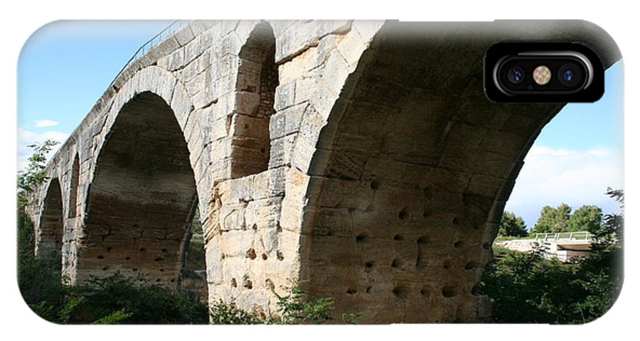 Roman Stonebridge IPhone X Case featuring the photograph Roman Bridge Pont St. Julien by Christiane Schulze Art And Photography