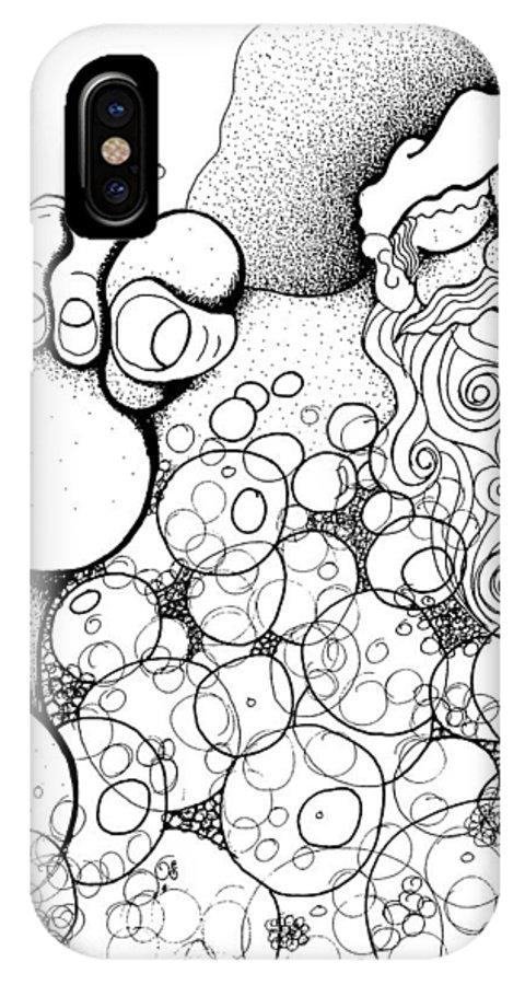 Xmas IPhone X Case featuring the drawing Santa's Long Night by Joy Bradley